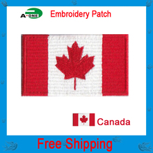 "canada Flag patches 2.5""*1.5"" hot cut iron on100%emb low price good quality for jerseys computer embroidery patch customised"