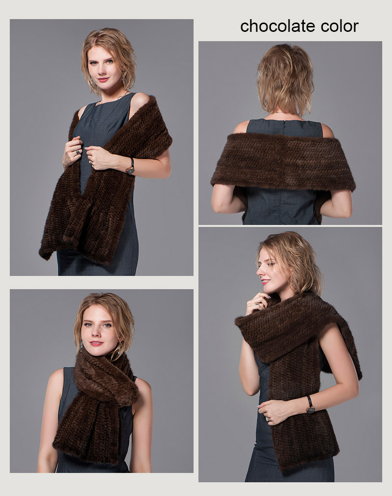 color dark brown mink fur scarf