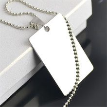 Skyrim Jewelry Making Supplies 25.7*40mm Stainless Steel Necklace Tone Rectangle Blank Stamping Dog Tag Military Necklace