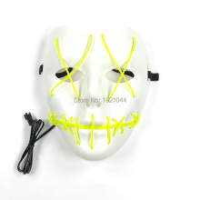 Free Shipping 10pieces 10 Colors Available EL Wire Flash Mask Electroluminescent wire Night Party Mask 3V Sound activated Driver(China)