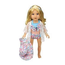 New Products Direct Factory Sale Price 18 inch American Girl Doll Bathing Suit +Sun Hat + Rash Guards AG956(China)