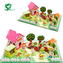 Happy Farm Wooden Toys for children 3D Puzzles Educational Kids Toys Games Containers Zoo Family Montessori Toys(China)