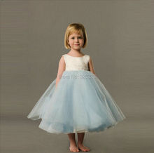 2016 Puffy Ball Gown Tulle Flower Girl Dresses Scoop Neckline Sequined Cheap Price Lovely Tea Length Little Girls Pageant Gowns