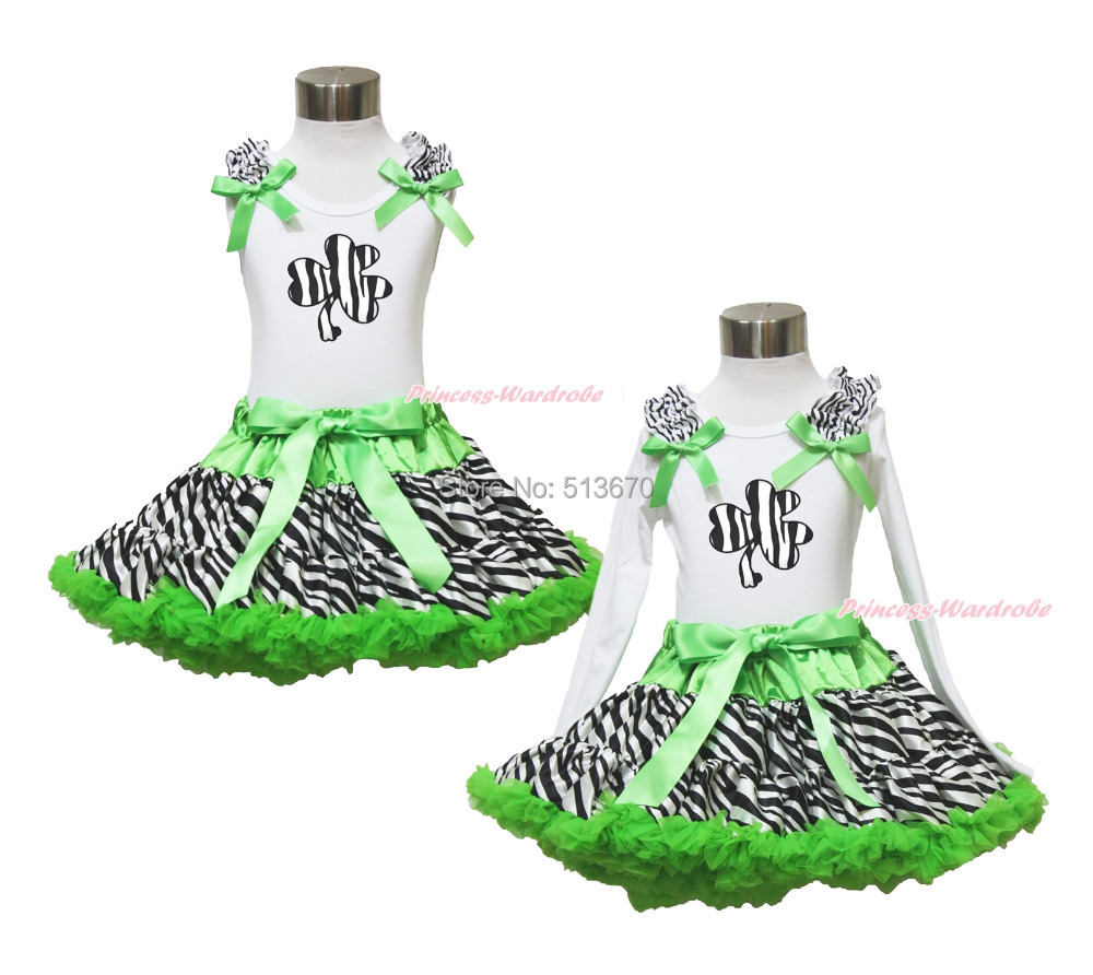 St Patricks Day Zebra Clover White Top Green Zebra Pettiskirt Girl Outfit 1-8Y MAPSA0377<br>