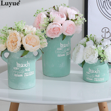 Luyue Official Store European Style Peony Bouquet Artificial Silk Flowers 11 Heads Mini Bridal Flower Wedding Home Decoration(China)