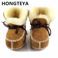 HONGTEYA New Winter plush Baby Shoes Boots Infants Warm Shoes Fur Wool Girls Baby Booties Sheepskin Genuine Leather Boy Boots(China)