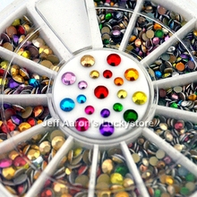 3D Round Acrylic Metal Nail Art Decoration Rhinestones Wheel Alloy Nail Studs Cell Phone Accessories 2mm and 3mm
