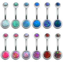 Fire Opal Jewelry Belly Button Rings Surgical Steel Bars Real Belly Rings Body Piercing Belly Navel Ring Piercing Sexy Silver(China)