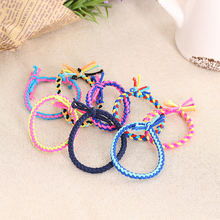 10PC Random Color!! Women Hand Wave Colorful Braided Elastic Rubber Hairband Rope Ponytail Holders Accessories