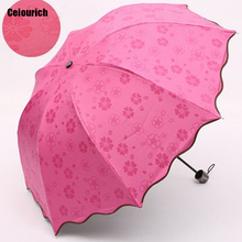 Ceiourich Princesses Umbrella Women Girl Sweet Style Four-folding Pink Purple Blue Rose red Umbrellas Umbrellas-010(China)