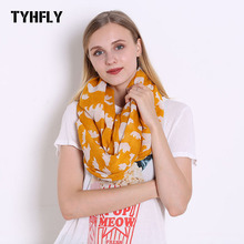 TYHFLY Animal Loop Scarves Orange Bear Printed Infinity Shawl Spring Sparrow Bird Tree Circle Ring Scarf Cute Tiny Pattern Wrap(China)