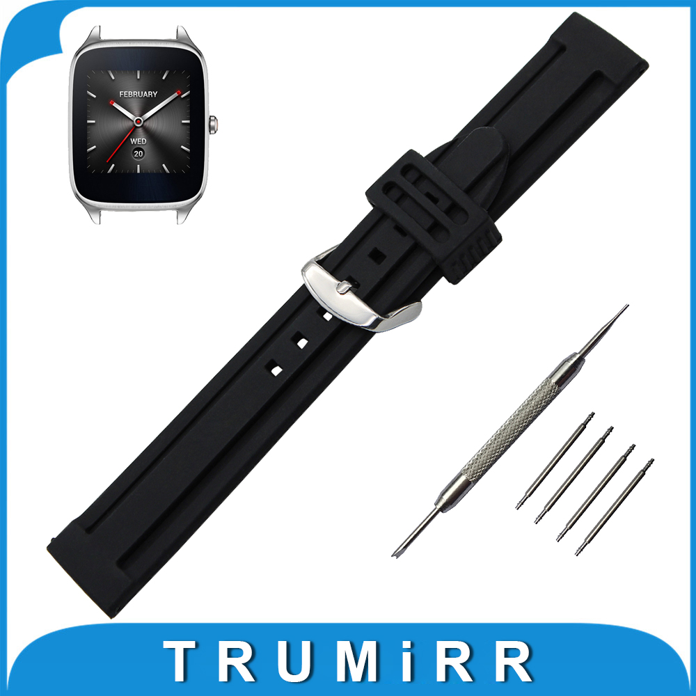 22mm Silicone Rubber Watch Band + Tool for Asus ZenWatch WI500Q / WI501Q Strap Pin Buckle Watchband Wrist Belt Bracelet Black<br><br>Aliexpress