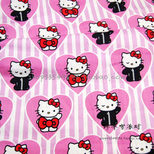 140X100cm Pink White Stripe Background Hello Kitty Cotton Stain Fabric for Baby Girl Sleepwear Sewing Patchwork DIY-AFCK102