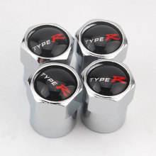 BBQ@FUKA 4x Type R Metal Car Wheel Tyre Tire Valve Dust Stems Air Caps Cover Emblem Fit for Honda