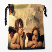 Best Angel Drawstring Bags Custom Storage Printed Receive Bag Compression Type Bags Size 18X22cm Storage Bags(China)