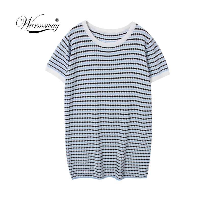 WARMSWAY 2019 Luxury Chic Runway Summer Dresses for Women Short Sleeve Knitted Mini Plaid Bandage Dress Party Vestidos C-141