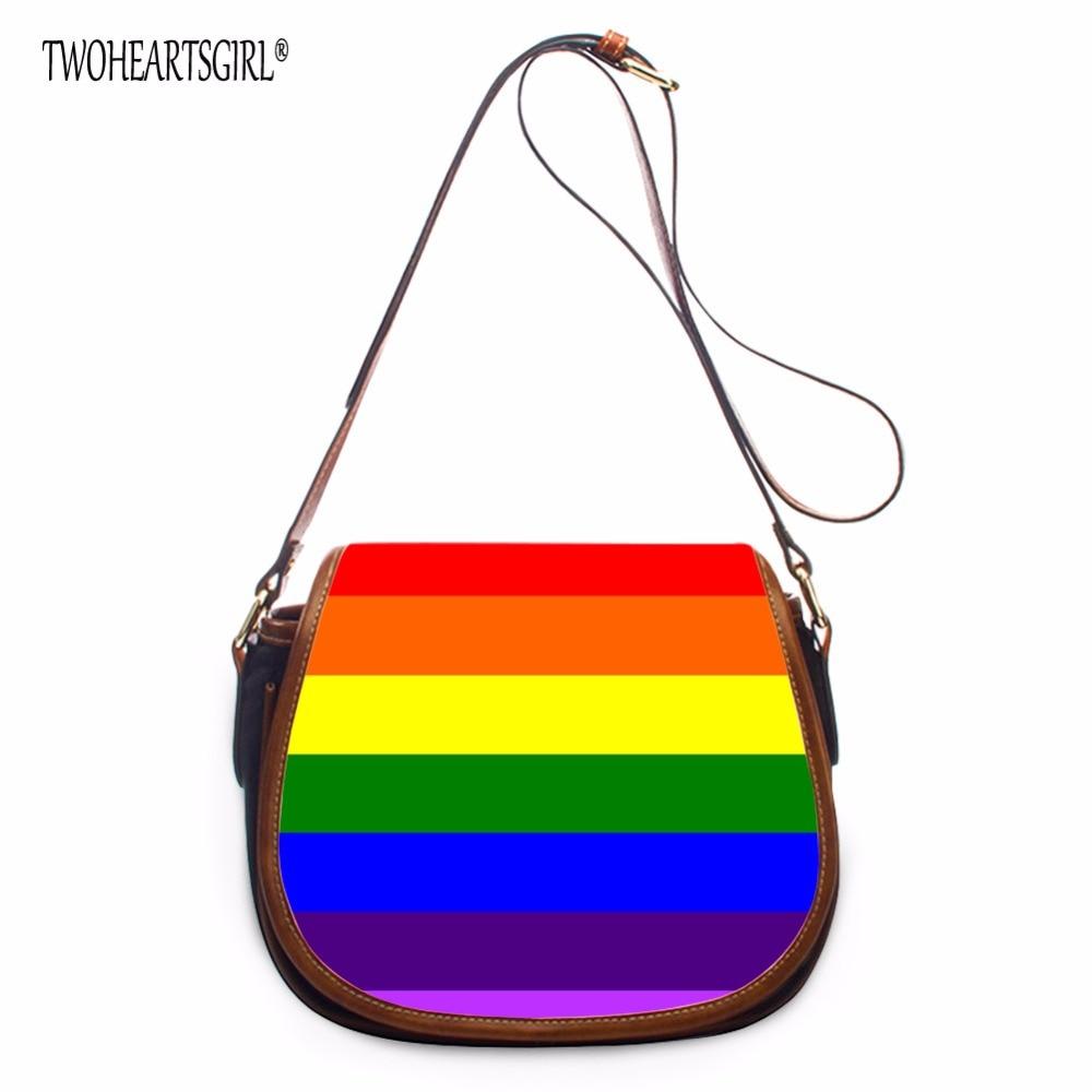 TWOHEARTSGIRL Rainbow Printed Ladies Adjust Strap Shoulder Bags Women Casual Messenger Bag Female PU Crossbody Bags Flab Bags<br>