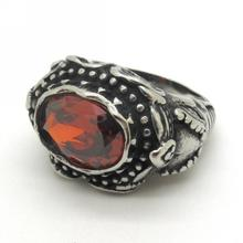Classic Design Red Crystal Charm Ring, Men Punk Jewelry, Stainless Steel Totem Scorpion Ring New Arrival