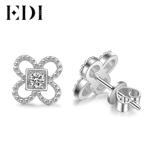 EDI Women Luxury 14K 585 White Gold 0.2CT Round Cut Diamond Stud Earrings For Women Engagement Wedding Earrings Jewelry(China)