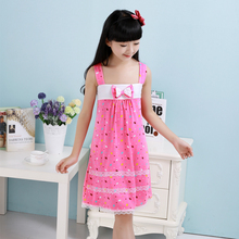 3-11 Years Summer Baby Girl Vest nightdress  Floral Sundress Sling nightgown Kid clothes 2Color