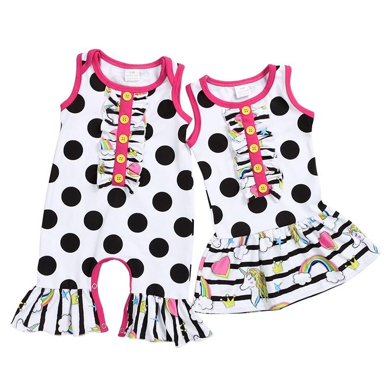 Baby Toddler Black Pink Polka Dot wif Pink Ruffled Lacing Jumpsuit Romper NB-12M