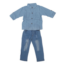 ABWE Spring autumn new girls clothing set denim shirt+hole jeans 2pcs kids girl clothes suits childrens clothing 6T(China)