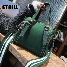 ETAILL Boston Bag Women Pillow Handbag Ladies High Quality PU Leather Wide Strap Bags Design Top Handle Messenger Shoulder Bags(China)