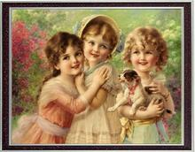 Needlework Crafts 14CT Unprinted For Embroidery DMC Quality Counted Cross Stitch Kit/Set DIY Best Of Friends Arts Little Angels