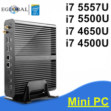 Eglobal i7 Mini PC Intel Core i7 5557U/5500U/4650U/4500U Windows 10 Fanless Computer TV Box 4K HTPC 2 HDMI 300M Wifi