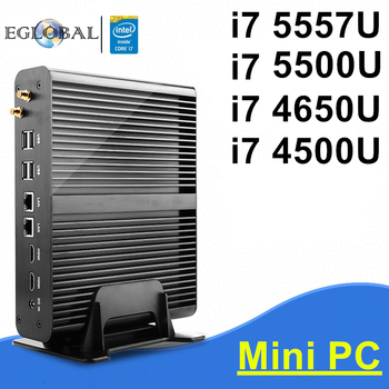 Eglobal i7 mini pc intel core i7 5557u/5500u/4650u/4500u windows 10 sin ventilador de ordenador caja de la tv 4 k htpc 2 hdmi 300 m wifi