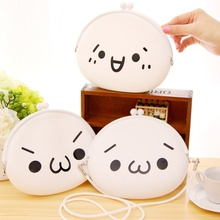Most popular Women Cute Cartoon Expression Silicone Jelly Wallet Bag Keys Pouch Coin Purse