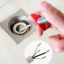 Stainless Steel Sink Cleaning Hook Hair Garbage Catcher Bathroom Floor Drain Sewer Dredge Device Pipe Cleaner Hair Kit drop ship