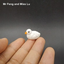 White Mandarin Duck Model Animal Toy Resin Mini Figure Game Kid