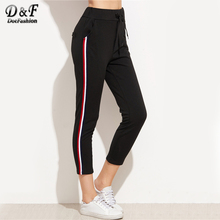 Dotfashion Striped Side Drawstring Casual Sweatpants 2017 Black Mid Waist Cropped Trousers Autumn Female Pocket Pants(China)
