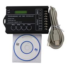 6pcs/pack DC12-24V 20A 5channel Time programmable led controller,  led timing dimmer, led pc USB interface controller