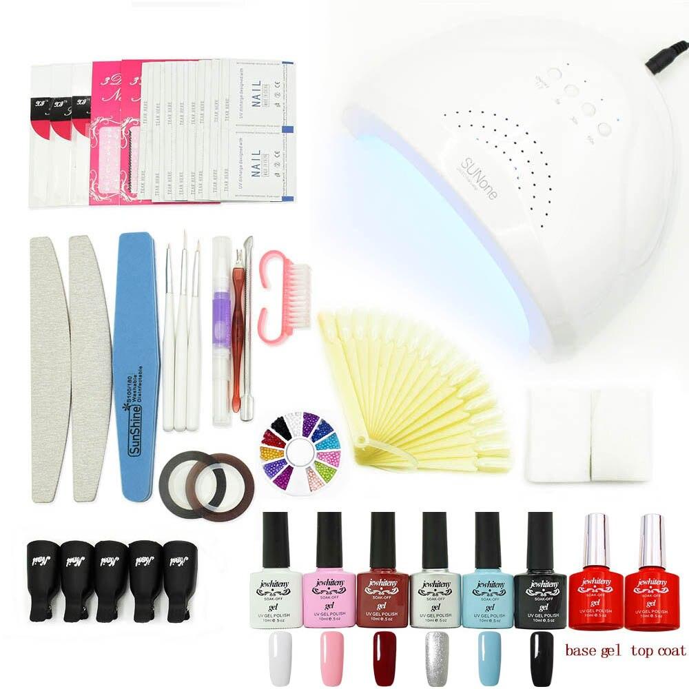 Nail Gel polish nail sets kits manicure Tools gel kit 36W 48W UV lamp nail LED dryer nail art tools base top coat<br>