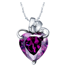 Vogue Purple Zircon Bijou With Austria Crystal 925 Sterling Silver Heart Necklace Pendant+Jewelry Bag,High Quality SCN437
