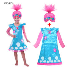 Troll Costume For Girl Dress Wig Teenager Kid Poppy Lace Party Princess Dresses Children Deguisement Elza Carnaval Frock 10 11