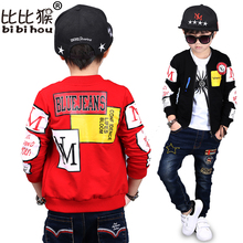 Bibihou 2017 Spring Autumn Jackets for Boy Coat Bomber Jacket Army Green Boy's Windbreaker Kids Children Jacket red black letter(China)