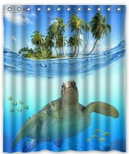 CHARMHOME Custom Underwater Sea Turtle Polyester Fabric Bathroom decor Shower Curtain