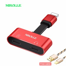 Buy NIROLLE 2 1 Iphone Charging Audio Adapter iphone7 8 plus X iOS Charger Splitter Earphone Jack Cable Lightning Adapter for $4.99 in AliExpress store