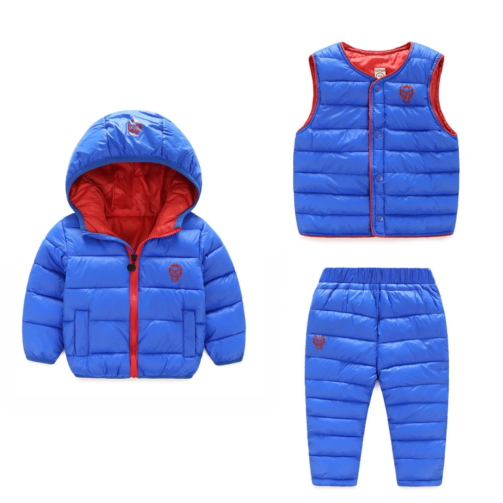 2017 Winter Baby boys girls hooded cotton jacket +vest +trousers 3pcs set autumn childrens causal soft down clothes 17J701<br>
