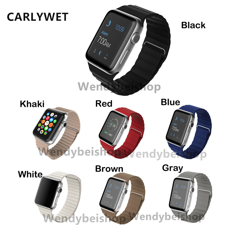 CARLYWET Women Men Real Calf Leather Replacement Watch Band Strap Belt Magnetic Closure with Adapter For Apple Iwatch 38mm 42mm<br><br>Aliexpress