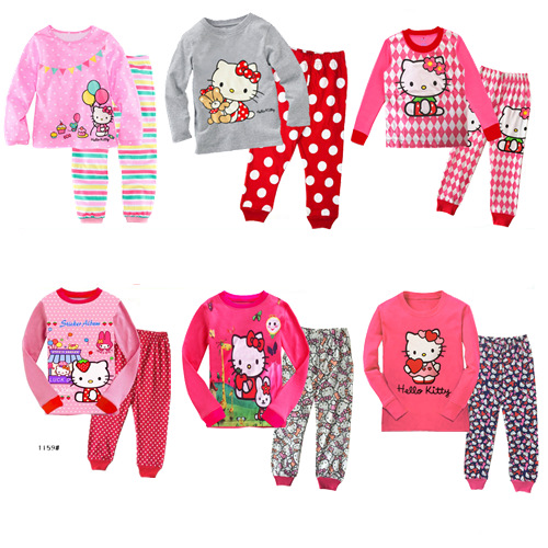 Dropshipping Hello Kitty Girls Pajama Sets Cotton Cartoon Children Clothes Suits Long Sleeves Tops + Pants 2pcs/set For Autumn(China)