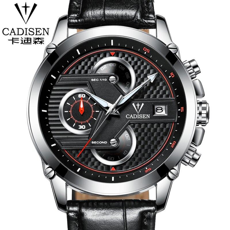 Brand cadisen Men Watches Fashion Men Military Quartz Wristwatches Luxury Genuine Leather Watches Waterproof Relogio Masculino<br>
