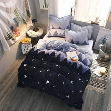 4pcs Polar Fleece Fabric Bedding set Queen Size King Starry Sky Coral Fleece Sheets with Duvet Cover Bed Sheet set Winter