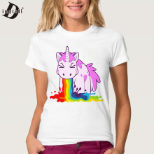 Dingtoll Funny Unicorn Rainbows T-Shirt Summer Harajuku Cartoon T Shirt Womens Fashion Novelty Short Sleeve Tee Tops WMT328