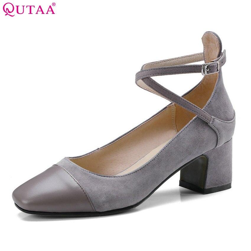 QUTAA 2018 Women Pumps Cow Suede Fashion Buckle Strap Women Shoes Platform Sweet Style Square Toe Women Pumps Szie 33-39<br>