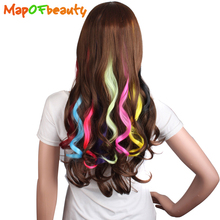 "MapofBeauty 20"" curly one Clip in Hair extensions False Hair Natural Synthetic Hairpieces for women black pink red blue Colors(China)"