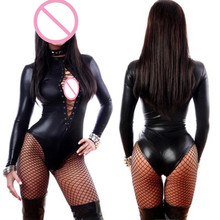 Buy Abbille Sexy Black Wetlook Long Sleeve open bust suits Women Leather Bodysuits Erotic Latex Catsuit Cat women Costume Playsuits